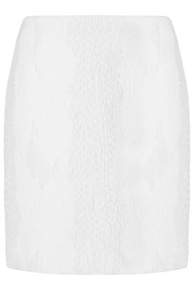 Textured Snake Pencil Skirt Boutique - style: straight; hip detail: draws attention to hips; waist: mid/regular rise; predominant colour: white; occasions: casual, evening, holiday; length: just above the knee; fibres: polyester/polyamide - stretch; texture group: cotton feel fabrics; fit: straight cut; pattern type: fabric; season: s/s 2013; pattern size: standard (bottom)