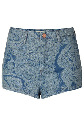 Moto Laser Paisley Hotpants - pocket detail: large back pockets; pattern: paisley; waist: high rise; predominant colour: denim; occasions: casual, holiday; fibres: cotton - 100%; waist detail: feature waist detail; texture group: denim; pattern type: fabric; season: s/s 2013; pattern size: big & busy (bottom); style: denim; length: short shorts; fit: slim leg; wardrobe: holiday