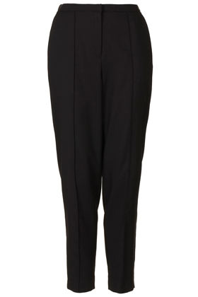 Tapered Peg Trousers - pattern: plain; waist detail: elasticated waist; pocket detail: small back pockets, pockets at the sides; style: peg leg; waist: mid/regular rise; predominant colour: black; occasions: casual, evening, work; length: ankle length; fibres: polyester/polyamide - mix; texture group: crepes; fit: tapered; pattern type: fabric; season: s/s 2013