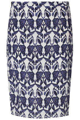 Silk Deco Floral Zip Skirt Boutique - length: mid thigh; style: pencil; fit: body skimming; hip detail: fitted at hip; waist: mid/regular rise; predominant colour: navy; occasions: casual, evening, work, occasion; fibres: silk - 100%; texture group: silky - light; trends: statement prints; pattern type: fabric; pattern: patterned/print; season: s/s 2013; pattern size: big & busy (bottom)