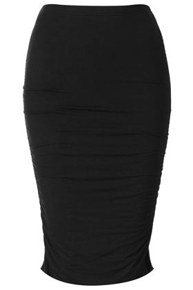 Black Ruched Side Tube Skirt - length: below the knee; pattern: plain; fit: tight; waist detail: fitted waist; waist: high rise; predominant colour: black; occasions: casual, evening, work; fibres: polyester/polyamide - stretch; style: tube; hip detail: ruching/gathering at hip; pattern type: fabric; texture group: jersey - stretchy/drapey; season: s/s 2013; pattern size: standard (bottom)