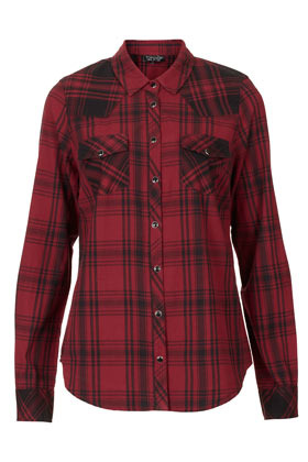 Mix Red Check Shirt - neckline: shirt collar/peter pan/zip with opening; pattern: checked/gingham; length: below the bottom; style: shirt; bust detail: pocket detail at bust; predominant colour: true red; occasions: casual, work; fibres: cotton - 100%; fit: body skimming; sleeve length: long sleeve; sleeve style: standard; texture group: cotton feel fabrics; pattern type: fabric; season: s/s 2013; pattern size: big & busy (top)