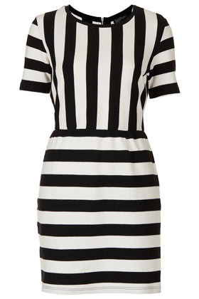 Texture Stripe Shift Dress - style: shift; length: mid thigh; neckline: round neck; fit: fitted at waist; pattern: striped; waist detail: fitted waist; predominant colour: black; occasions: casual, evening; fibres: cotton - 100%; sleeve length: short sleeve; sleeve style: standard; trends: monochrome, graphic stripes; texture group: cotton feel fabrics; pattern type: fabric; pattern size: standard; season: s/s 2013