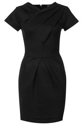 Wrap Front Pencil Dress - style: shift; length: mid thigh; fit: tailored/fitted; pattern: plain; waist detail: structured pleats at waist; bust detail: ruching/gathering/draping/layers/pintuck pleats at bust; predominant colour: black; occasions: casual, evening, work, occasion; fibres: polyester/polyamide - stretch; neckline: crew; hip detail: sculpting darts/pleats/seams at hip; shoulder detail: flat/draping pleats/ruching/gathering at shoulder; sleeve length: short sleeve; sleeve style: standard; texture group: cotton feel fabrics; trends: glamorous day shifts; pattern type: fabric; pattern size: standard; season: s/s 2013