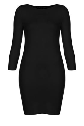 Petite Plain Mini Bodycon Dress - length: mini; neckline: round neck; fit: tight; pattern: plain; style: bodycon; waist detail: fitted waist; predominant colour: black; occasions: casual, evening, work; fibres: polyester/polyamide - stretch; sleeve length: 3/4 length; sleeve style: standard; texture group: jersey - clingy; pattern type: fabric; pattern size: standard; season: s/s 2013