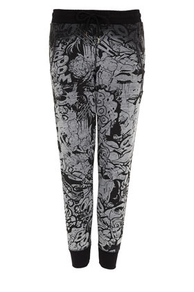 Petite Cartoon Joggers - length: standard; style: tracksuit pants; waist detail: elasticated waist; pocket detail: pockets at the sides; waist: mid/regular rise; predominant colour: black; occasions: casual; fibres: polyester/polyamide - mix; trends: statement prints; fit: slim leg; pattern type: fabric; pattern: patterned/print; texture group: jersey - stretchy/drapey; season: s/s 2013; pattern size: big & busy (bottom)