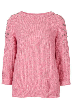 Knitted Stud Shoulder Jumper - neckline: round neck; pattern: plain; style: standard; predominant colour: pink; occasions: casual; length: standard; fibres: cotton - mix; fit: standard fit; sleeve length: 3/4 length; sleeve style: standard; texture group: knits/crochet; pattern type: knitted - fine stitch; embellishment: beading; season: s/s 2013; wardrobe: highlight; embellishment location: shoulder