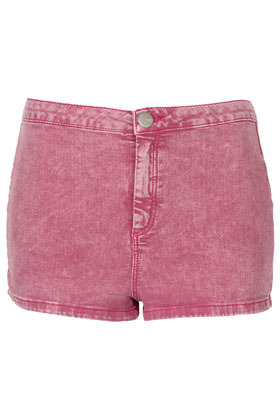 Moto Berry Acid 50s Hotpants - pattern: plain; pocket detail: large back pockets; waist: mid/regular rise; predominant colour: purple; occasions: casual, holiday; fibres: cotton - mix; waist detail: narrow waistband; texture group: denim; pattern type: fabric; season: s/s 2013; pattern size: standard (bottom); style: denim; length: short shorts; fit: skinny/tight leg