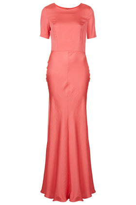 Clean T Shirt Maxi Dress - neckline: round neck; pattern: plain; style: maxi dress; waist detail: fitted waist; hip detail: fitted at hip; predominant colour: pink; occasions: evening, occasion; length: floor length; fit: fitted at waist & bust; fibres: polyester/polyamide - 100%; sleeve length: short sleeve; sleeve style: standard; texture group: structured shiny - satin/tafetta/silk etc.; pattern type: fabric; pattern size: standard; season: s/s 2013