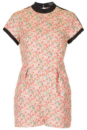 Ditsy Cutout Playsuit - fit: fitted at waist; waist detail: structured pleats at waist; length: short shorts; predominant colour: pink; occasions: casual, evening, holiday; fibres: polyester/polyamide - mix; neckline: crew; hip detail: sculpting darts/pleats/seams at hip; sleeve length: short sleeve; sleeve style: standard; texture group: cotton feel fabrics; style: playsuit; pattern type: fabric; pattern size: standard; pattern: florals; season: s/s 2013