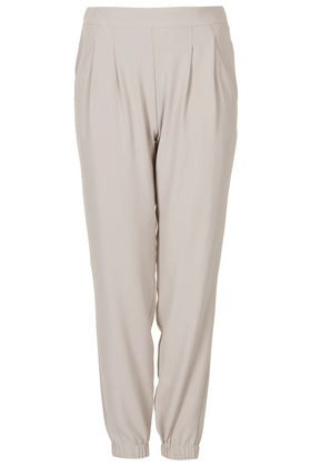Crepe Cuffed Joggers - length: standard; pattern: plain; style: tracksuit pants; waist detail: elasticated waist; pocket detail: pockets at the sides; waist: mid/regular rise; predominant colour: light grey; occasions: casual; fibres: polyester/polyamide - 100%; texture group: crepes; trends: sporty redux; fit: tapered; pattern type: fabric; season: s/s 2013