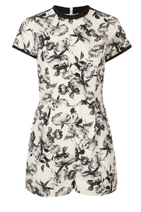 Petite Mono Floral Playsuit - waist detail: fitted waist; length: short shorts; predominant colour: black; occasions: casual, evening, holiday; fit: body skimming; fibres: cotton - stretch; neckline: crew; hip detail: sculpting darts/pleats/seams at hip; sleeve length: short sleeve; sleeve style: standard; texture group: cotton feel fabrics; trends: high impact florals; style: playsuit; pattern type: fabric; pattern size: standard; pattern: florals; season: s/s 2013