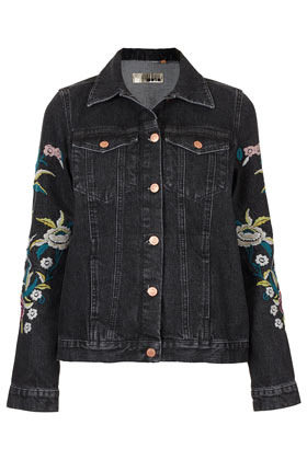 Moto Floral Embroidery Jacket - pattern: plain; style: denim; predominant colour: black; occasions: casual; length: standard; fit: straight cut (boxy); fibres: cotton - 100%; collar: shirt collar/peter pan/zip with opening; sleeve length: long sleeve; sleeve style: standard; texture group: denim; collar break: high/illusion of break when open; pattern type: fabric; embellishment: embroidered; season: s/s 2013