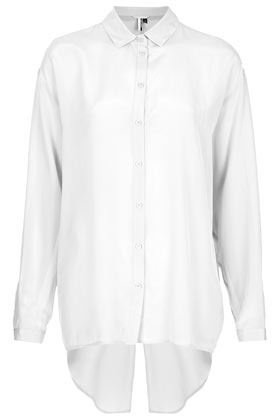 Premium Silk Slash Back Shirt - neckline: shirt collar/peter pan/zip with opening; pattern: plain; length: below the bottom; style: shirt; predominant colour: white; occasions: casual, evening, work; fibres: silk - 100%; fit: loose; back detail: longer hem at back than at front; sleeve length: long sleeve; sleeve style: standard; texture group: silky - light; pattern type: fabric; pattern size: standard; season: s/s 2013