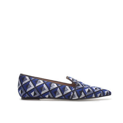 Pointed Slipper - predominant colour: navy; occasions: casual, evening, work, occasion, holiday; material: fabric; heel height: flat; embellishment: embroidered; toe: pointed toe; style: ballerinas / pumps; trends: modern geometrics; finish: plain; pattern: patterned/print; season: s/s 2013
