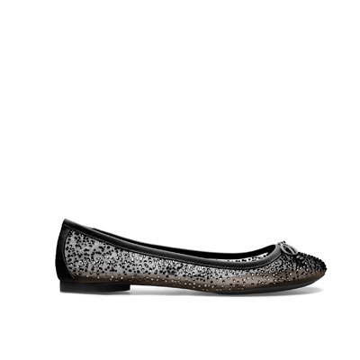 Shiny Ballerina - predominant colour: black; occasions: casual, evening, work; material: fabric; heel height: flat; embellishment: crystals/glass; toe: round toe; style: ballerinas / pumps; trends: metallics; finish: metallic; pattern: plain; season: s/s 2013