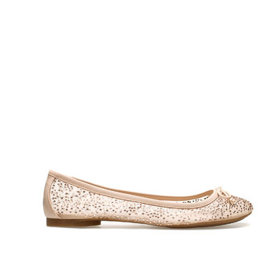 Shiny Ballerina - predominant colour: nude; occasions: casual, evening, work, holiday; material: fabric; heel height: flat; embellishment: crystals/glass; toe: round toe; style: ballerinas / pumps; finish: plain; pattern: plain; season: s/s 2013