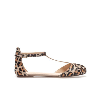 Leather Sandal - predominant colour: black; occasions: casual; material: animal skin; heel height: flat; ankle detail: ankle strap; heel: standard; toe: open toe/peeptoe; style: standard; finish: plain; pattern: animal print; season: s/s 2013; wardrobe: highlight
