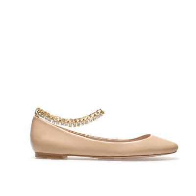 Ballerina With Ankle Strap - predominant colour: nude; occasions: casual, evening, work; material: leather; heel height: flat; ankle detail: ankle strap; toe: round toe; style: ballerinas / pumps; finish: plain; pattern: plain; embellishment: chain/metal; season: s/s 2013