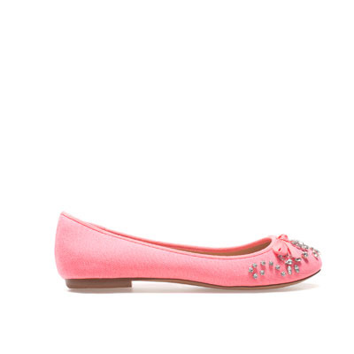 Ballerina With Strass - predominant colour: pink; occasions: casual, evening, work; material: fabric; heel height: flat; embellishment: crystals/glass; toe: round toe; style: ballerinas / pumps; finish: plain; pattern: plain; season: s/s 2013