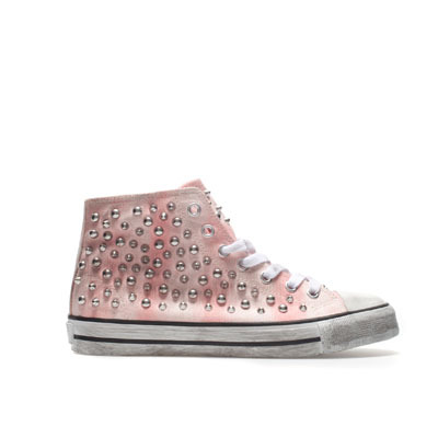 Studded Plimsoll - predominant colour: blush; occasions: casual; material: fabric; heel height: flat; embellishment: crystals/glass; heel: standard; toe: round toe; boot length: ankle boot; style: high top; finish: plain; pattern: tie dye; season: s/s 2013