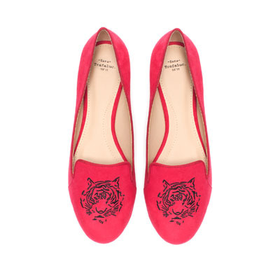 Tiger Slippers - predominant colour: true red; occasions: casual, evening, work; material: faux leather; heel height: flat; embellishment: embroidered; toe: round toe; style: ballerinas / pumps; finish: plain; pattern: patterned/print; season: s/s 2013