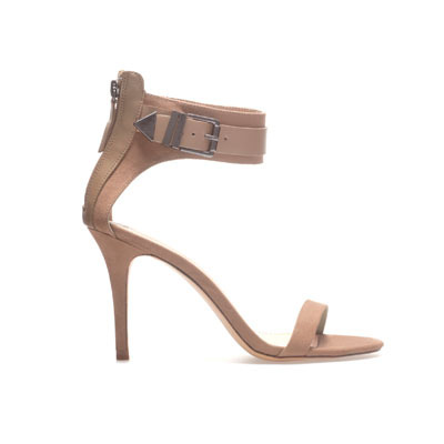 Sandal With Buckle - predominant colour: nude; occasions: evening, occasion; material: faux leather; heel height: high; ankle detail: ankle strap; heel: stiletto; toe: open toe/peeptoe; style: standard; finish: plain; pattern: plain; season: s/s 2013