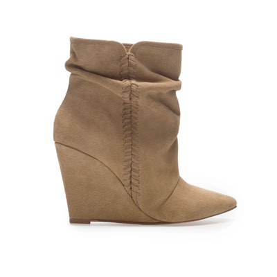 Suede Wedge Ankle Boot - predominant colour: camel; occasions: casual, creative work; material: suede; heel height: high; heel: wedge; toe: pointed toe; boot length: ankle boot; style: standard; finish: plain; pattern: plain; season: s/s 2013