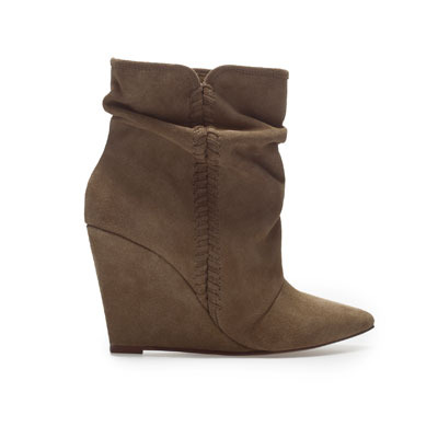 Suede Wedge Ankle Boot - predominant colour: chocolate brown; occasions: casual, creative work; material: suede; heel height: high; heel: wedge; toe: pointed toe; boot length: ankle boot; style: standard; finish: plain; pattern: plain; season: s/s 2013