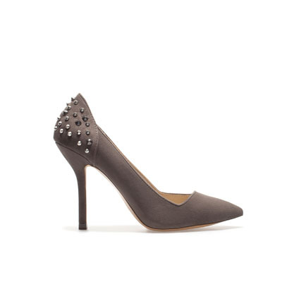 Court Shoe With Studded Heel - predominant colour: charcoal; occasions: evening, work, occasion; material: faux shearling; heel height: high; embellishment: studs; heel: stiletto; toe: pointed toe; style: courts; trends: metallics; finish: plain; pattern: plain; season: s/s 2013