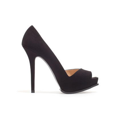 High Heel Asymmetric Peep Toe Shoes - predominant colour: black; occasions: evening, work, occasion; material: faux leather; heel height: high; heel: stiletto; toe: open toe/peeptoe; style: courts; finish: plain; pattern: plain; shoe detail: platform; season: s/s 2013