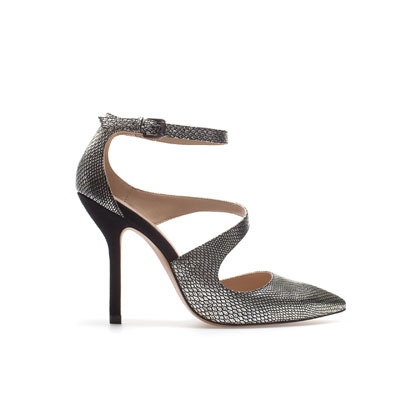 Combined Court Shoe - predominant colour: silver; occasions: evening, occasion; material: faux leather; heel height: high; ankle detail: ankle strap; heel: stiletto; toe: pointed toe; style: courts; trends: metallics; finish: metallic; pattern: animal print; season: s/s 2013