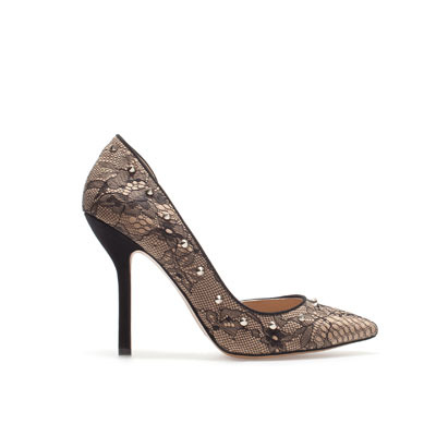 Lace Court Shoe - predominant colour: nude; occasions: evening, work, occasion; material: lace; heel height: high; embellishment: studs; heel: stiletto; toe: pointed toe; style: courts; trends: statement prints, metallics; finish: plain; pattern: patterned/print; season: s/s 2013