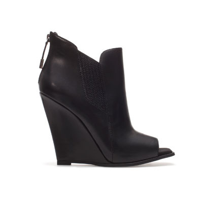Peep Toe Wedge Ankle Boot - predominant colour: black; occasions: casual, creative work; material: leather; heel height: high; heel: wedge; toe: open toe/peeptoe; boot length: shoe boot; style: standard; finish: plain; pattern: plain; season: s/s 2013