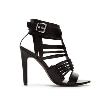 Strappy Sandal With Buckle - predominant colour: black; occasions: evening, occasion; material: faux leather; heel height: high; embellishment: buckles; ankle detail: ankle strap; heel: stiletto; toe: open toe/peeptoe; style: strappy; finish: plain; pattern: plain; season: s/s 2013