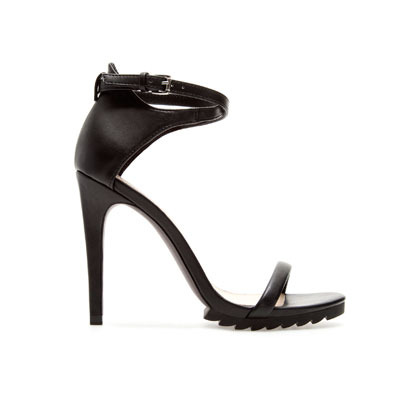 Ankle Strap Sandal - predominant colour: black; occasions: evening, occasion; material: faux leather; heel height: high; embellishment: buckles; ankle detail: ankle strap; heel: stiletto; toe: open toe/peeptoe; style: standard; finish: plain; pattern: plain; season: s/s 2013