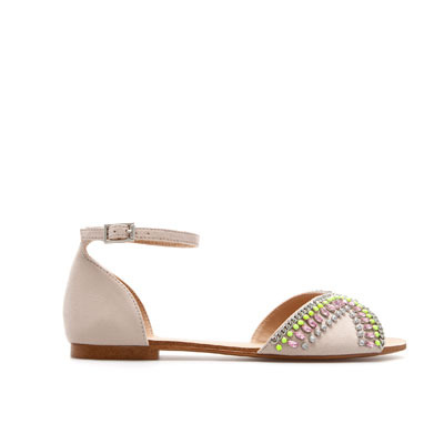 Vamp And Heel With Diamante - predominant colour: blush; occasions: casual; material: faux leather; heel height: flat; embellishment: crystals/glass; ankle detail: ankle strap; heel: standard; toe: open toe/peeptoe; style: standard; finish: plain; pattern: plain; season: s/s 2013