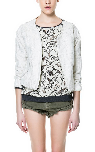 Jacquard Pattern Bomber Jacket With Zips On Shoulder - collar: round collar/collarless; fit: slim fit; style: bomber; predominant colour: white; occasions: casual, evening, work; length: standard; fibres: cotton - mix; shoulder detail: added shoulder detail; sleeve length: long sleeve; sleeve style: standard; texture group: ornate wovens; trends: metallics; collar break: high; pattern type: fabric; pattern size: light/subtle; pattern: patterned/print; season: s/s 2013