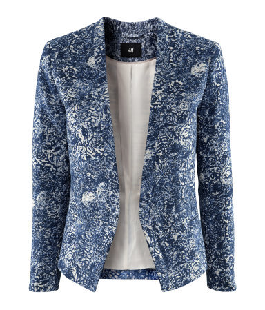 Jacket - style: single breasted blazer; collar: standard lapel/rever collar; predominant colour: navy; occasions: casual, evening, work, occasion; length: standard; fit: tailored/fitted; fibres: cotton - mix; waist detail: fitted waist; sleeve length: long sleeve; sleeve style: standard; trends: statement prints; collar break: low/open; pattern type: fabric; pattern size: standard; pattern: patterned/print; texture group: woven light midweight; season: s/s 2013