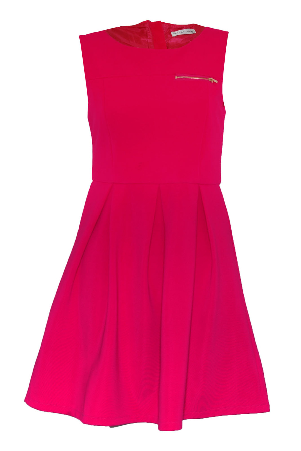 Zip Fitted Sleeveless Dress - sleeve style: sleeveless; waist detail: fitted waist; predominant colour: hot pink; occasions: casual, evening; length: just above the knee; fit: fitted at waist & bust; style: fit & flare; fibres: polyester/polyamide - 100%; neckline: crew; hip detail: subtle/flattering hip detail; sleeve length: sleeveless; pattern: patterned/print; texture group: jersey - stretchy/drapey; season: s/s 2013