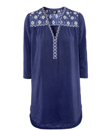 Top - neckline: v-neck; length: below the bottom; style: tunic; predominant colour: navy; occasions: casual, work, holiday; fibres: cotton - 100%; fit: straight cut; shoulder detail: added shoulder detail; sleeve length: 3/4 length; sleeve style: standard; pattern type: fabric; pattern size: light/subtle; texture group: jersey - stretchy/drapey; embellishment: beading; season: s/s 2013