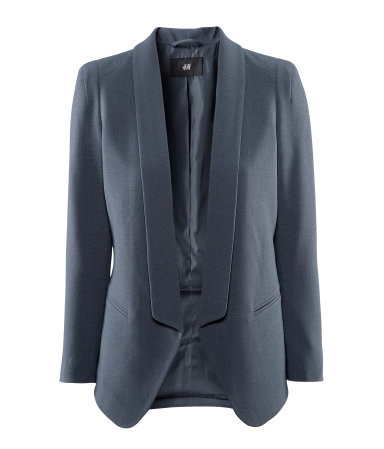 Jacket - pattern: plain; style: single breasted blazer; collar: shawl/waterfall; length: below the bottom; predominant colour: charcoal; occasions: casual, evening, work, occasion; fit: tailored/fitted; fibres: polyester/polyamide - mix; sleeve length: long sleeve; sleeve style: standard; trends: tuxedo; collar break: low/open; pattern type: fabric; pattern size: standard; texture group: woven light midweight; season: s/s 2013
