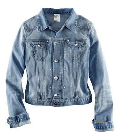 Denim Jacket - pattern: plain; style: denim; fit: slim fit; predominant colour: denim; occasions: casual; length: standard; fibres: cotton - stretch; collar: shirt collar/peter pan/zip with opening; sleeve length: long sleeve; sleeve style: standard; texture group: denim; collar break: high/illusion of break when open; pattern type: fabric; season: s/s 2013