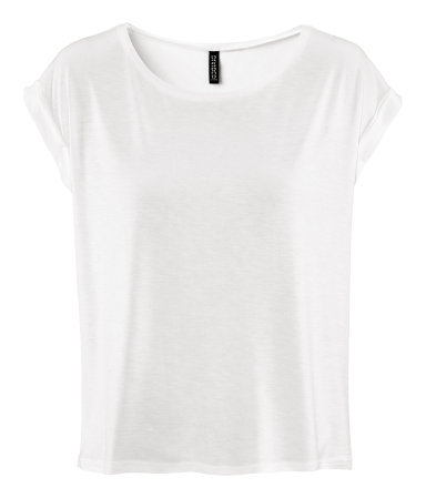 Top - neckline: round neck; sleeve style: capped; pattern: plain; style: t-shirt; predominant colour: white; occasions: casual, work; length: standard; fibres: polyester/polyamide - 100%; fit: loose; sleeve length: short sleeve; pattern type: fabric; pattern size: standard; texture group: jersey - stretchy/drapey; season: s/s 2013