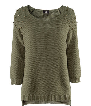 Jumper - neckline: round neck; pattern: plain; style: standard; predominant colour: khaki; occasions: casual, evening, work; length: standard; fibres: cotton - mix; fit: standard fit; shoulder detail: added shoulder detail; back detail: longer hem at back than at front; sleeve length: 3/4 length; sleeve style: standard; texture group: knits/crochet; pattern type: knitted - fine stitch; pattern size: light/subtle; season: s/s 2013