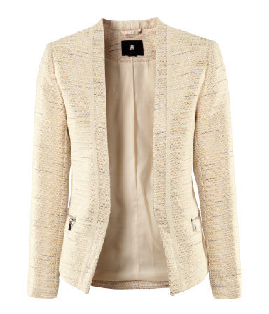 Jacket - pattern: plain; style: single breasted blazer; collar: shawl/waterfall; predominant colour: stone; occasions: casual, work; length: standard; fit: tailored/fitted; fibres: polyester/polyamide - mix; waist detail: fitted waist; sleeve length: long sleeve; sleeve style: standard; collar break: low/open; pattern type: fabric; pattern size: standard; texture group: woven light midweight; season: s/s 2013