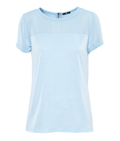 Top - neckline: round neck; pattern: plain; style: t-shirt; shoulder detail: contrast pattern/fabric at shoulder; predominant colour: pale blue; occasions: casual, work; length: standard; fibres: polyester/polyamide - 100%; fit: straight cut; sleeve length: short sleeve; sleeve style: standard; pattern type: fabric; pattern size: standard; texture group: jersey - stretchy/drapey; season: s/s 2013