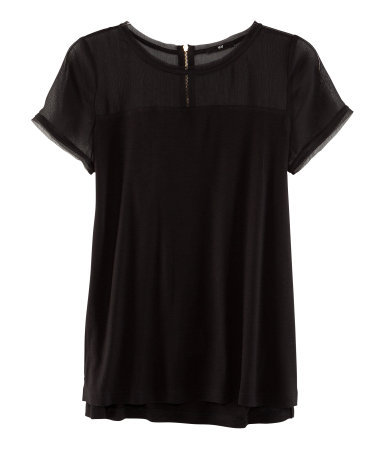 Top - neckline: round neck; pattern: plain; bust detail: sheer at bust; style: t-shirt; predominant colour: black; occasions: casual, evening, work; length: standard; fibres: polyester/polyamide - 100%; fit: loose; sleeve length: short sleeve; sleeve style: standard; pattern type: fabric; texture group: jersey - stretchy/drapey; season: s/s 2013; wardrobe: basic