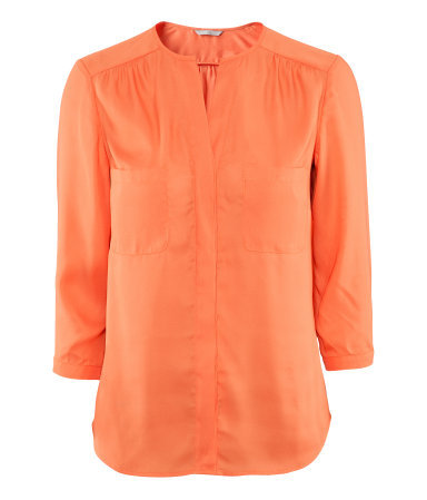 Blouse - pattern: plain; bust detail: pocket detail at bust; style: blouse; predominant colour: coral; occasions: casual, evening, work; length: standard; neckline: collarstand & mandarin with v-neck; fibres: polyester/polyamide - 100%; fit: straight cut; shoulder detail: flat/draping pleats/ruching/gathering at shoulder; sleeve length: 3/4 length; sleeve style: standard; texture group: crepes; pattern type: fabric; pattern size: standard; season: s/s 2013
