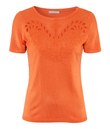 Jumper - neckline: round neck; pattern: plain; style: standard; predominant colour: bright orange; occasions: casual, work; length: standard; fibres: silk - mix; fit: standard fit; sleeve length: short sleeve; sleeve style: standard; pattern type: knitted - fine stitch; texture group: jersey - stretchy/drapey; embellishment: embroidered; season: s/s 2013; wardrobe: highlight; embellishment location: bust